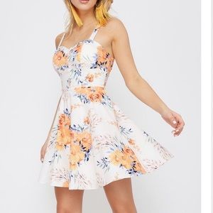Cute Floral Fitted Bodice Dress